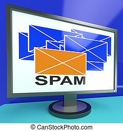 Spam Envelope On Monitor Showing Malicious Messages Or...