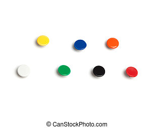 Colorful thumb tacks - Set of thumb tacks in different...