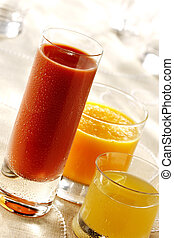 cool fruit juices - cool tomato, orange and grapefruit...