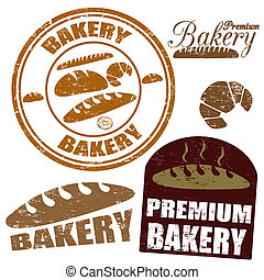 Set of bakery stamps - Set of bakery grunge rubber stamps on...