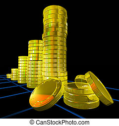 Pile Of Coins Shows Monetary Success