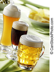 beer mugs - lager,wheat and dark beer glasses served fresh...