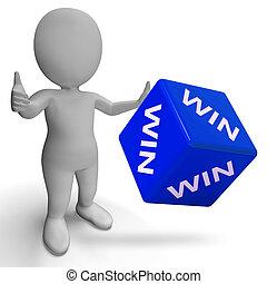Ganhe, dados, mostrando, sucesso, vencedor, suceder