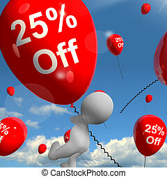 Balloon With 25 Off Showing Discount Of Twenty Five Percent...