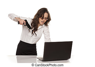 I'll kill you - nervous and angry secretary destroys your...