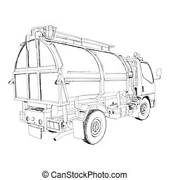 garbage truck - Hand Drawn - The abstract of garbage truck -...