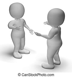 Conversation Between Two 3d Characters Shows Communication -...