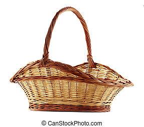 fruit basket - empty wicker basket isolated