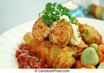 Cabbage Rolls - Baked cabbage rolls with pork carrots and...