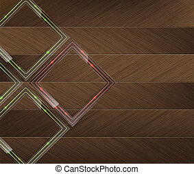 Glass panels with green and red neon light over a wood...