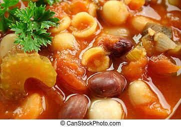 Minestrone Soup - Close up of delicious freshly made Italian...