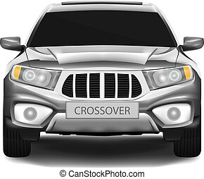 Crossover car - Dark-silver crossover car isolated on white...