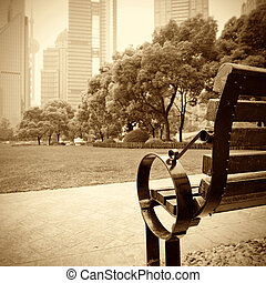 A park bench - Shanghai Lujiazui financial district, park...