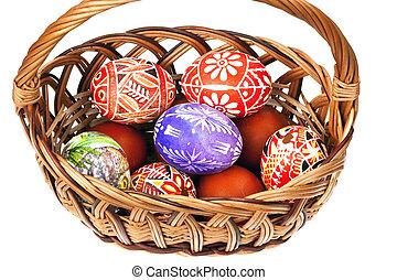 basket full of Ester Eggs - Detail of the painted Easter...