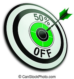 50 Percent Off Shows Reduction In Price - 50 Percent Off...