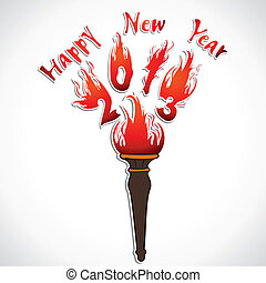 new year 2013 design with  firelamp