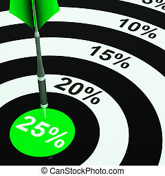 25 Percent On Dartboard Showing Won Reductions - 25 Percent...
