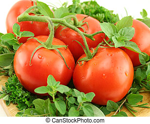 Tomatoes On A Bed Of Herbs - Vine ripened tomatoes on a bed...