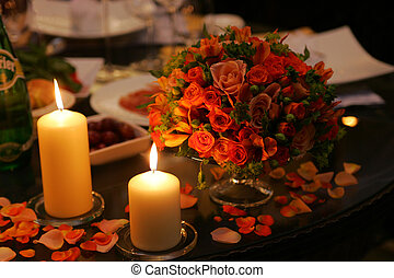 Romantic table setting - Close up of table decorated with...