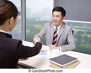 Asiático, negócio, pessoas