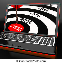 25 Percent On Laptop Shows Promotional Prices