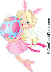 Cute Fairy flying with Easter Egg - Cute little Fairy flying...