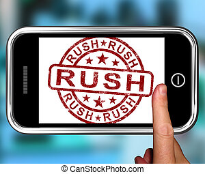 Rush On Smartphone Showing Speed And Urgency