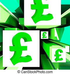 Pound Symbol On Cubes Shows Britain Currency