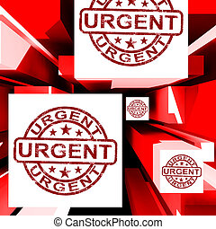 Urgent On Cubes Shows Urgent Priority Or Speed Delivery