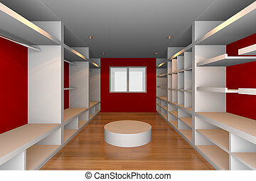 red walk-in closet - Mock-up for minimalist walk-in closet...