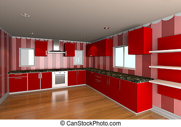 kitchen room with red wallpaper - Mock-up for minimalist...