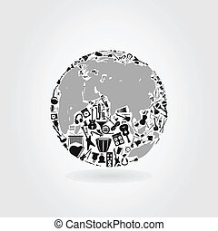 Music a planet - Planet made of musical instruments A vector...