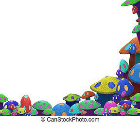 divertido, colorido, hongos