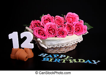 Birthday card - Number of age in a colorful studio setting...