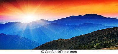 mountains landscape - Majestic mountains landscape under...