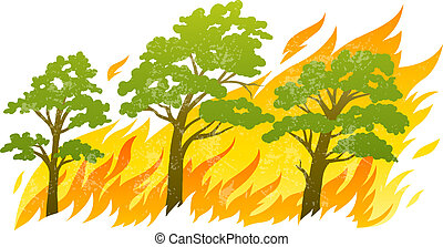 burning forest trees in fire flames - natural disaster...