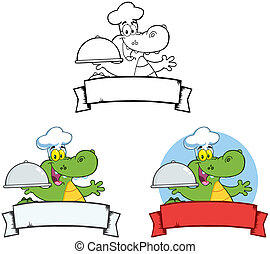 Chef Crocodile Banners.Collection - Crocodile Chef Holding A...