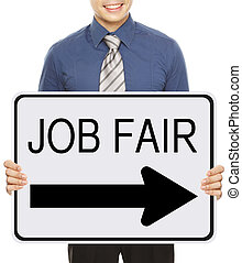Job Fair - A man advertising a Job Fair signboard or poster...