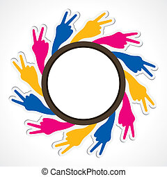 hand show victory sign arrange in round shape stock vector