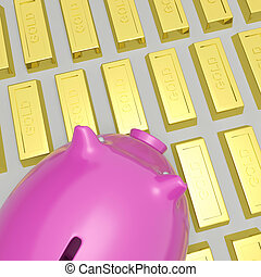 Piggybank On Gold Bars Shows Wealth And Financial Growth