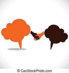 handshake and join venture between