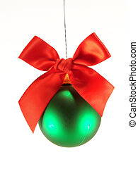 Christmas ball with red bow - Green christmas ball with red...