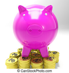 Piggybank On Coins Showing Britain Investments