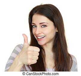 Smiling happy girl with thumb up isolated on white...