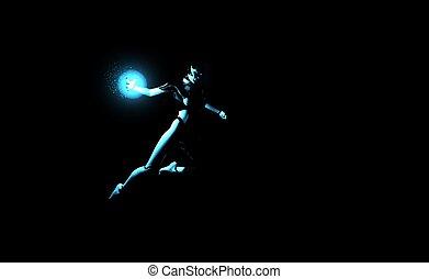 female cyborg energy charge