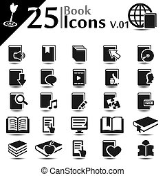 Book Icons v01 - Book icons set, basic series