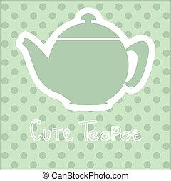 cute tea time card vector illustration