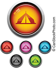 Tent button icon - Glossy camping tent button icon set in 6...