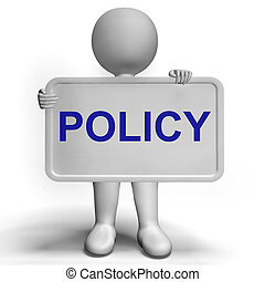 Privacy Policy Sign Shows Company Data Protection Terms -...