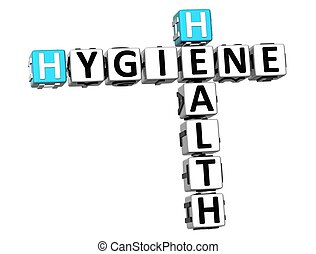 3D Hygiene Health Crossword on white background